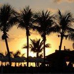 beach bar in sunset