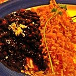 black beans and rice side with fajitas