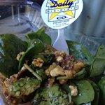 1/2 eaten Spinach Salad!! so yummy!!