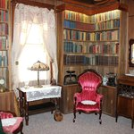 Library (groom's room) with books dating from 1840-1950s and video library of over 3000 DVDs.