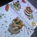 Mozzarella and Tomato stack. Seafood verrine