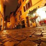 Rome street in trastevere at nigth