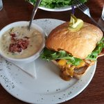 impact burger with delicious clam chowder
