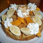 Bananas and papaya on waffle