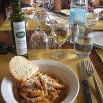 Pasta and wine.