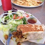 curry chicken roti (front) and chicken burger (behind)