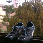 Nothing says vacation like drying your shoes in the window! (Love the church t