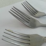 The Forks with food on them which are ment to be clean!