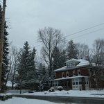 Snowy Day in Magog..View of the B&B Au Virage