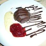 Rasberry cake covered in chocolate!