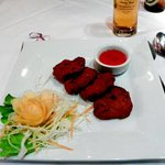 Thai deep-fried fish cakes with sweet&sour dip;yum!