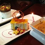 Mango cheesecake, Cream Brulee & something Chocolate