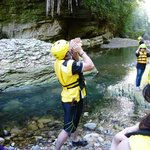 Using the Taino Fotuto to anounce our entrance to the Tanama river