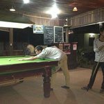 playing pool with the staff!!! great snooker table.