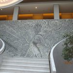 Mosaic peacock in the lobby