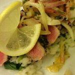 ahi tuna with risotto and fennel citrus slaw