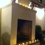 open fireplace in the restaurant courtyard