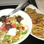 Calamari, Whitebait, Greek salad
