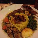 Turmeric rice with chicken kurma & pork satay