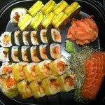 Salmon Sashimi, Geisha Roll, Fuji Roll, and Salmon Maki
