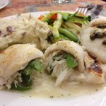 Flounder Ripieno stuffed with crab, aspagus and provolone