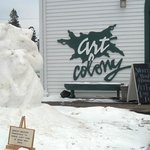 Art Colony in Grand Marais, with a snow sculpture outside.