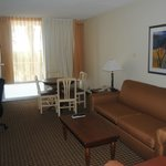 The front part of our suite (2 tv's, kitchenette, desk, etc.)