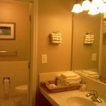 Bathroom area of room.