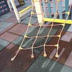 broken equipment in the playground