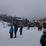 Hotel central to pic, next to end of slope!
