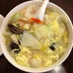 Noodle with seafood egg flower soup