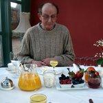 pureed pineapple with honeyed yogurt  and fresh fruits..before the full Englis