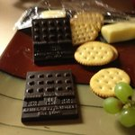Nice cheese and fruit...but notice the chocolate hotel!