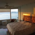 Master bedroom has ocean view, comfy bed