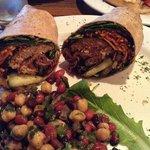 Healthy and yummy soy burger wrap + 3 bean salad.  Soooo flavorful!