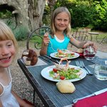 Garden dining, langoustine salad