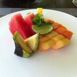 fresh fruit platter during breakfast