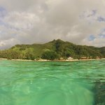 Looking back at the resort from our snorkling spot
