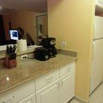 台所(コーヒーメーカー、トースター、冷蔵庫)コーヒーは必要分頼べば持ってきてくれる。