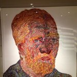 Van Gogh self portrait in the lobby. Done with 13,000 pencil crayons.