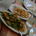 Food at the hotel:  Pepper shrimp and pakbet