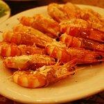 Dinner - shrimp with salt, actually quite tasty!