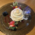 Home made baked Alaska with flaming Kirsh