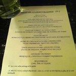le menu de st Valentin