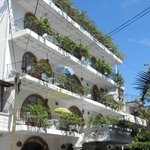 Front of Hotel with all balcony units-