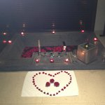 Aromatherapy candle lit bath in room from the spa