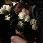 Leaving Fleming's Valet with her roses :-)