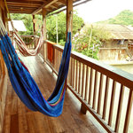 Relax in the hammocks overlooking the Ecuadorian cloud forest