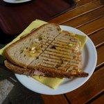 Tasteful hot sandwich ham cheese