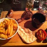 Lamb, Beef, Chicken, Sausage and Chips = Yum!